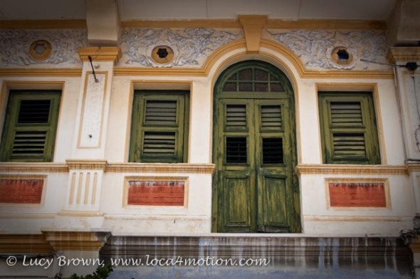 Painted Door and Shuttered Windows, George Town, Penang, Malaysia