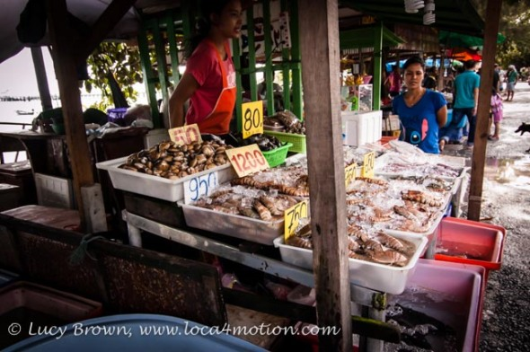 Beachside fish stall at the Sea Gypsy village, Rawai, Phuket, Thailand