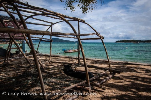 Fish trap on the beach at the Sea Gypsy village, Rawai, Phuket, Thailand