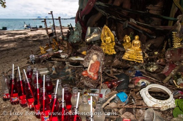 Beachside shrine at the Sea Gypsy village, Rawai, Phuket, Thailand