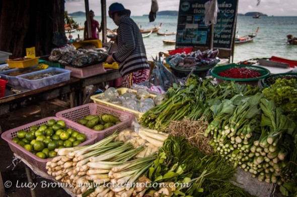 Beachside vegetable stall at the Sea Gypsy village, Rawai, Phuket, Thailand