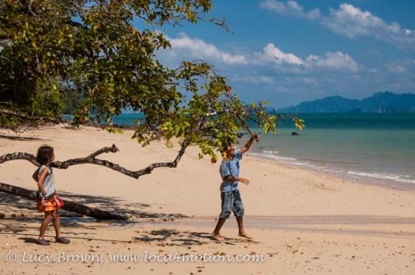 Children playing on beach, Ko Yao Noi, Phuket, Thailand
