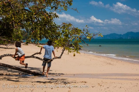Children playing on beach, Ko Yao Noi, Phuket, Thailand