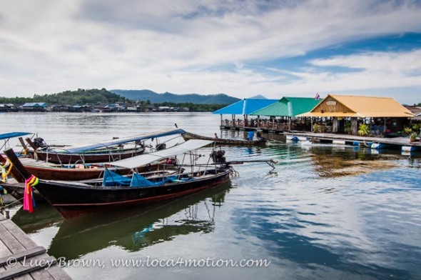 Floating restaurants & long-tail boats, Phang Nga Bay, Thailand