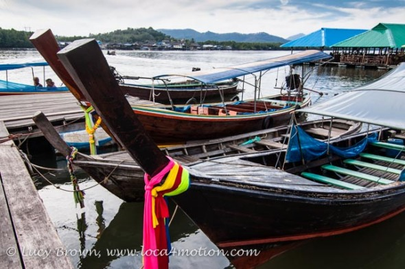 Moored long-tail boats, Phang Nga Bay, Thailand