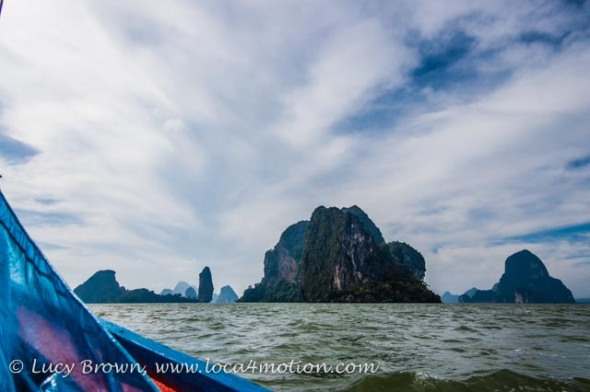 View of bay from long-tail boat, Phang Nga Bay, Thailand