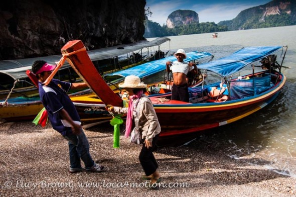 Long-tail boats at James Bond Island (Ko Khao Phing Kan), Phang Nga Bay, Thailand