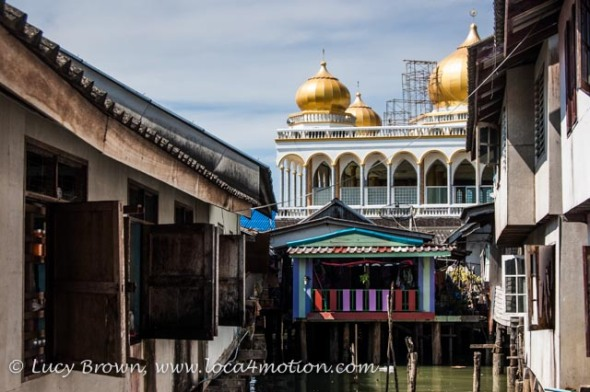 Golden domes of new mosque, Koh Panyee (Ko Panyi), Phang Nga Bay, Thailand