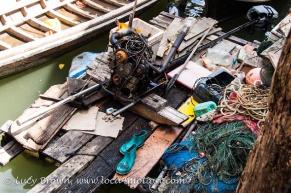 Boat engine & fishing paraphernalia, Koh Panyee (Ko Panyi), Phang Nga Bay, Thailand
