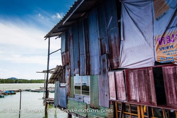 Colorful floating tin shack, Koh Panyee (Ko Panyi), Phang Nga Bay, Thailand