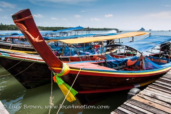 Long-tail boats, Koh Panyee (Ko Panyi), Phang Nga Bay, Thailand
