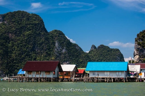 Colorful roofs of stilted houses, Koh Panyee (Ko Panyi), Phang Nga Bay, Thailand