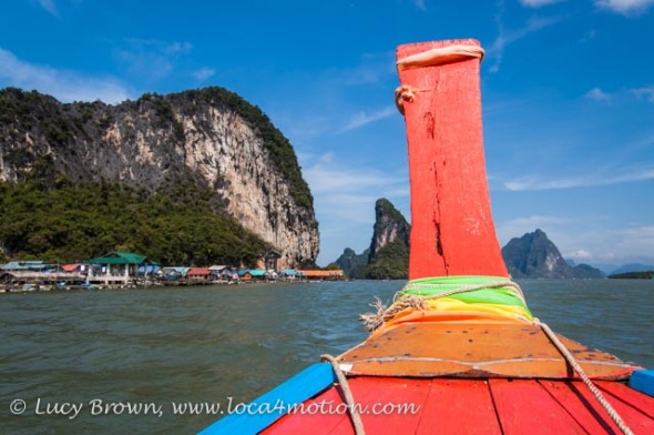 Approaching Koh Panyee (Ko Panyi) in a long-tail boat, Phang Nga Bay, Thailand