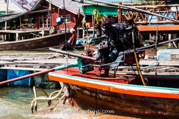 Close-up of long-tail boat engine, Koh Panyee (Ko Panyi), Phang Nga Bay, Thailand