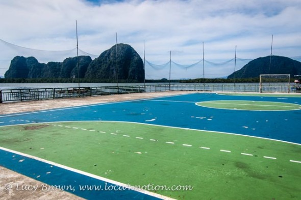Football pitch with sea view, Koh Panyee School (Ko Panyi), Phang Nga Bay, Thailand