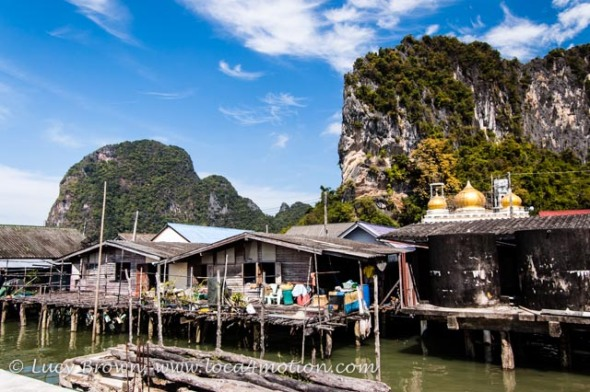 Houses on stilts and mosque, view from Koh Panyee School (Ko Panyi), Phang Nga Bay, Thailand