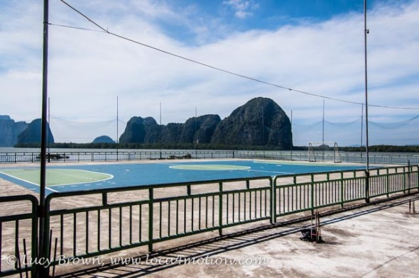Seaside football pitch, Koh Panyee School (Ko Panyi), Phang Nga Bay, Thailand