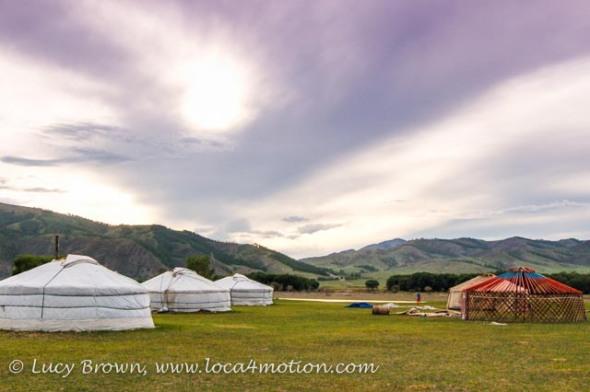 Fully constructed Mongolian ger alongside partly constructed ger. Khutag Ondor, Central Mongolia