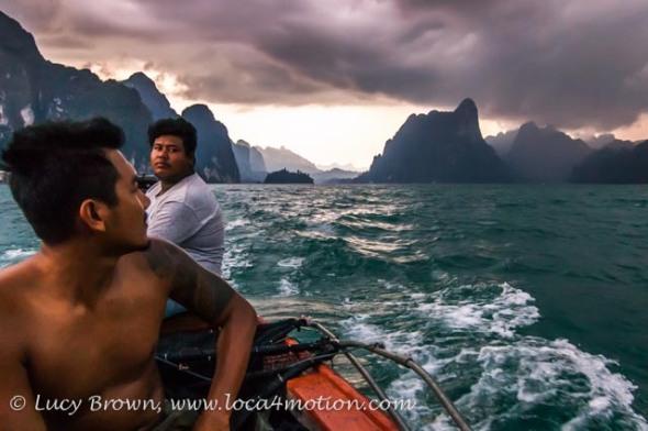 Boat trip at dusk, Cheow Lan Lake, Khao Sok National Park, southern Thailand