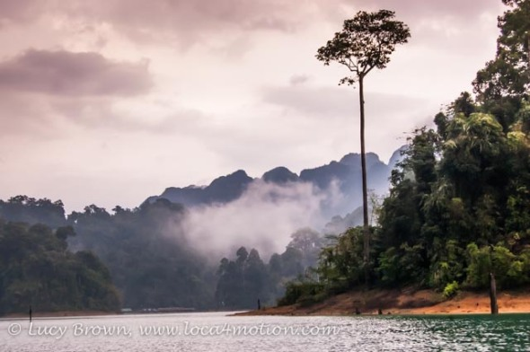 Colors of dusk, Cheow Lan Lake, Khao Sok National Park, southern Thailand