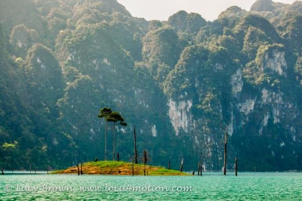 Green island, Cheow Lan Lake, Khao Sok National Park, southern Thailand