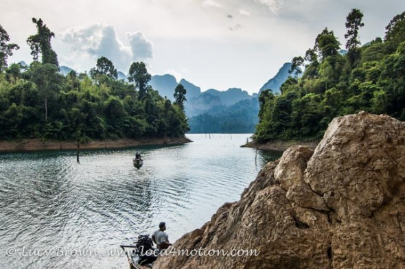 Boatman waiting for passengers, Cheow Lan Lake, Khao Sok National Park, southern Thailand