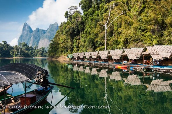 Lakeside raft houses, Cheow Lan Lake, Khao Sok National Park, southern Thailand