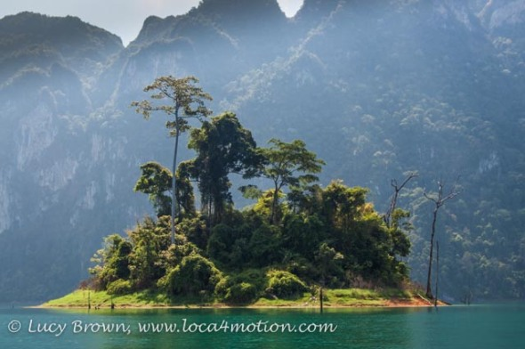 Lush island, Cheow Lan Lake, Khao Sok National Park, southern Thailand