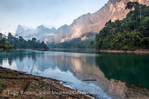 Sunrise Colors On Lake, Cheow Lan Lake, Khao Sok National Park, southern Thailand