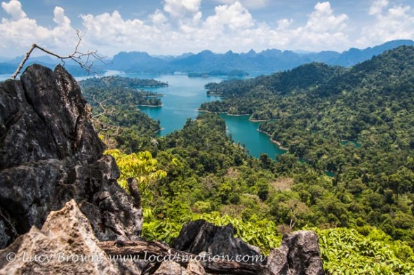 View of Cheow Lan Lake from viewpoint, Khao Sok National Park, southern Thailand